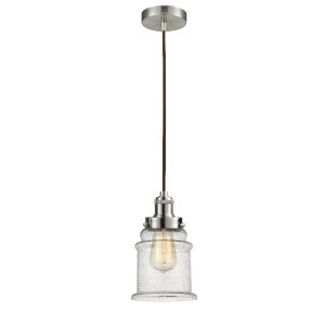 Edison Satin Nickel Eight-Inch One-Light Mini Pendant with Brown Cord