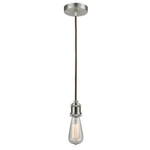 Edison Satin Nickel Two-Inch One-Light Mini Pendant with Brown Cord