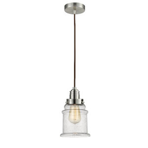 Winchester Satin Nickel Eight-Inch One-Light Mini Pendant with Brown Cord