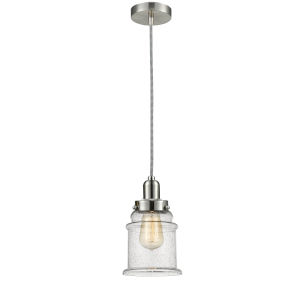 Whitney Satin Nickel Eight-Inch One-Light Mini Pendant with Zebra Cord