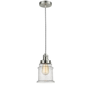 Edison Satin Nickel Eight-Inch One-Light Mini Pendant with Zebra Cord