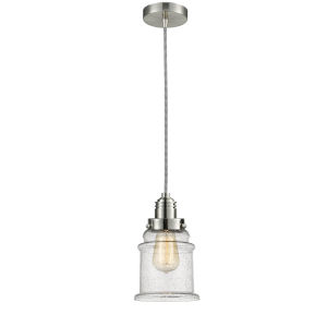 Winchester Satin Nickel Eight-Inch One-Light Mini Pendant with Zebra Cord