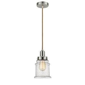 Whitney Satin Nickel Eight-Inch One-Light Mini Pendant with Copper Cord