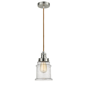 Edison Satin Nickel Eight-Inch One-Light Mini Pendant with Copper Cord
