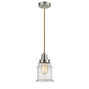 Winchester Satin Nickel Eight-Inch One-Light Mini Pendant with Copper Cord