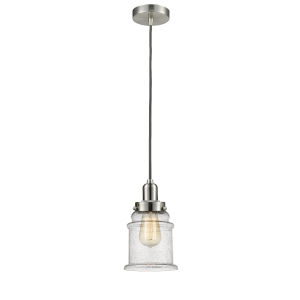 Whitney Satin Nickel Eight-Inch One-Light Mini Pendant with Gray Cord