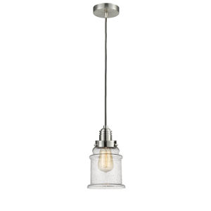 Winchester Satin Nickel Eight-Inch One-Light Mini Pendant with Gray Cord