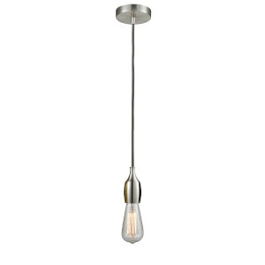 Chelsea Satin Nickel One-Light Mini Pendant with Gray Cord