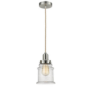 Whitney Satin Nickel Eight-Inch One-Light Mini Pendant with Rope Cord