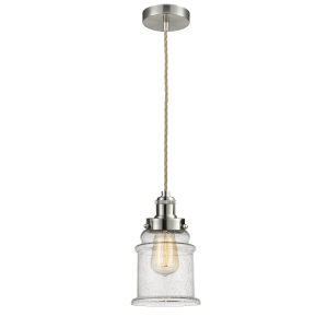 Edison Satin Nickel Eight-Inch One-Light Mini Pendant with Rope Cord