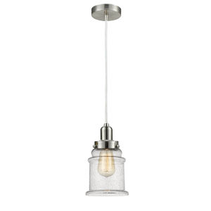Whitney Satin Nickel Eight-Inch One-Light Mini Pendant with White Cord