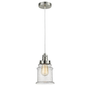 Edison Satin Nickel Eight-Inch One-Light Mini Pendant with White Cord
