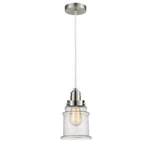 Winchester Satin Nickel Eight-Inch One-Light Mini Pendant with White Cord