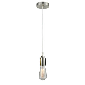 Chelsea Satin Nickel One-Light Mini Pendant with White Cord