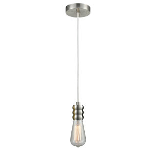Gatsby Satin Nickel One-Light Mini Pendant with White Cord