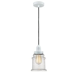 Whitney White Eight-Inch One-Light Mini Pendant with Black Cord