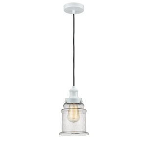 Edison White Eight-Inch One-Light Mini Pendant with Black Cord