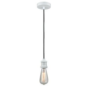 Edison White Two-Inch One-Light Mini Pendant with Black Cord
