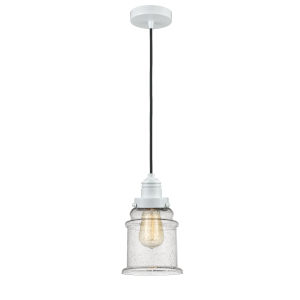 Winchester White Eight-Inch One-Light Mini Pendant with Black Cord