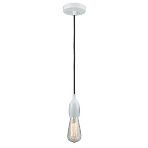 Chelsea White One-Light Mini Pendant with Black Cord