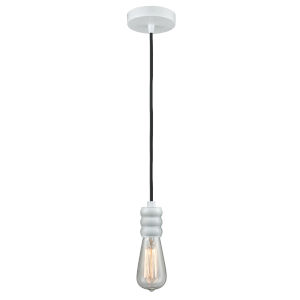 Gatsby White One-Light Mini Pendant with Black Cord