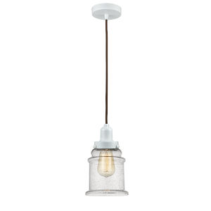 Whitney White Eight-Inch One-Light Mini Pendant with Brown Cord
