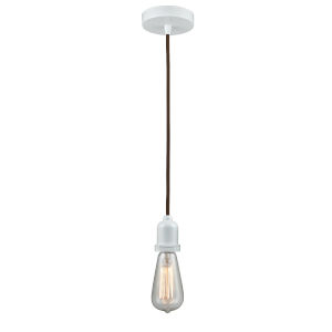 Whitney White Two-Inch One-Light Mini Pendant with Brown Cord