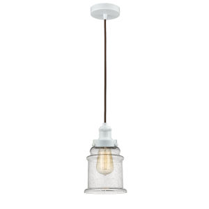 Edison White Eight-Inch One-Light Mini Pendant with Brown Cord