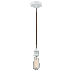 Edison White Two-Inch One-Light Mini Pendant with Brown Cord