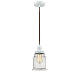 Winchester White Eight-Inch One-Light Mini Pendant with Brown Cord