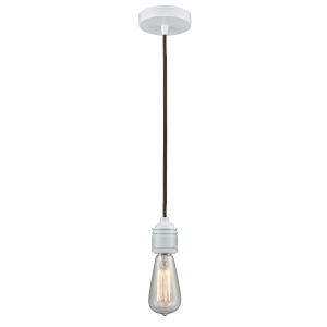 Winchester White Two-Inch One-Light Mini Pendant with Brown Cord