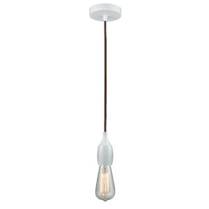 Chelsea White One-Light Mini Pendant with Brown Cord