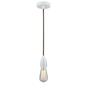 Fairchild White One-Light Mini Pendant with Brown Cord
