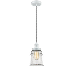 Edison White Eight-Inch One-Light Mini Pendant with Zebra Cord