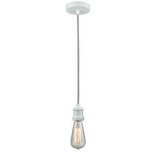 Edison White Two-Inch One-Light Mini Pendant with Zebra Cord