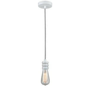 Gatsby White One-Light Mini Pendant with Zebra Cord