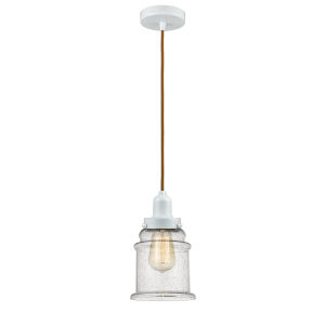 Whitney White Eight-Inch One-Light Mini Pendant with Copper Cord