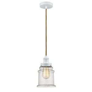 Edison White Eight-Inch One-Light Mini Pendant with Copper Cord