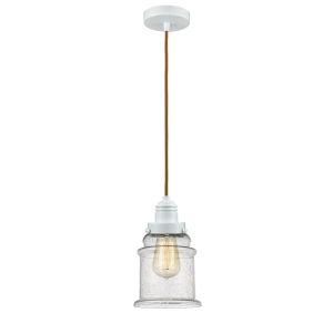 Winchester White Eight-Inch One-Light Mini Pendant with Copper Cord