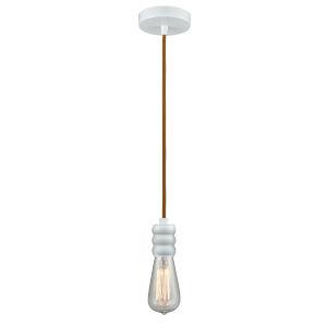 Gatsby White One-Light Mini Pendant with Copper Cord