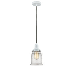 Whitney White Eight-Inch One-Light Mini Pendant with Gray Cord