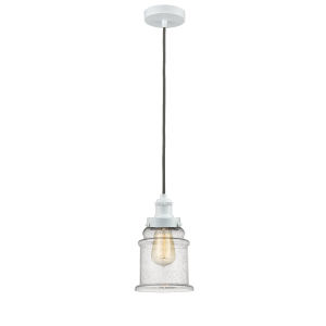 Edison White Eight-Inch One-Light Mini Pendant with Gray Cord