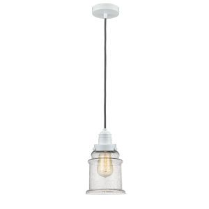 Winchester White Eight-Inch One-Light Mini Pendant with Gray Cord