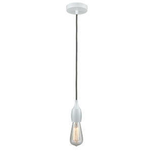Chelsea White One-Light Mini Pendant with Gray Cord