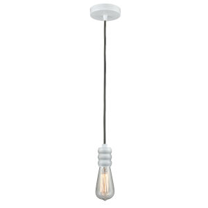 Gatsby White One-Light Mini Pendant with Gray Cord