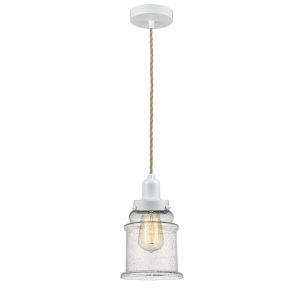 Whitney White Eight-Inch One-Light Mini Pendant with Rope Cord