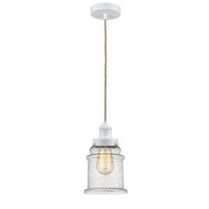 Edison White Eight-Inch One-Light Mini Pendant with Rope Cord