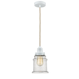 Winchester White Eight-Inch One-Light Mini Pendant with Rope Cord
