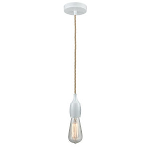 Chelsea White One-Light Mini Pendant with Rope Cord