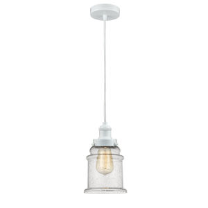 Edison White Eight-Inch One-Light Mini Pendant with White Cord